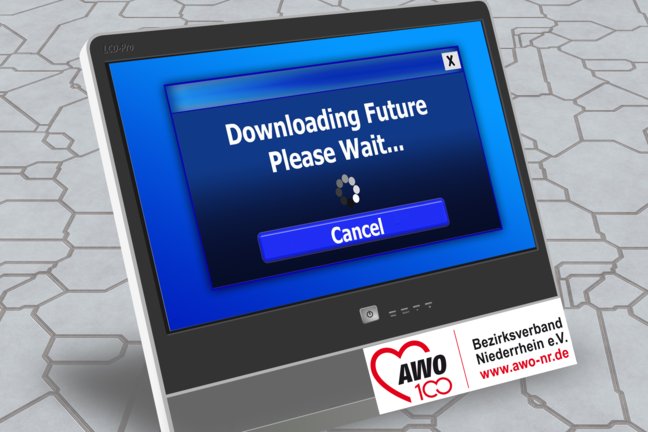 "Bildmontage ""Downloading Future. Please wait"""